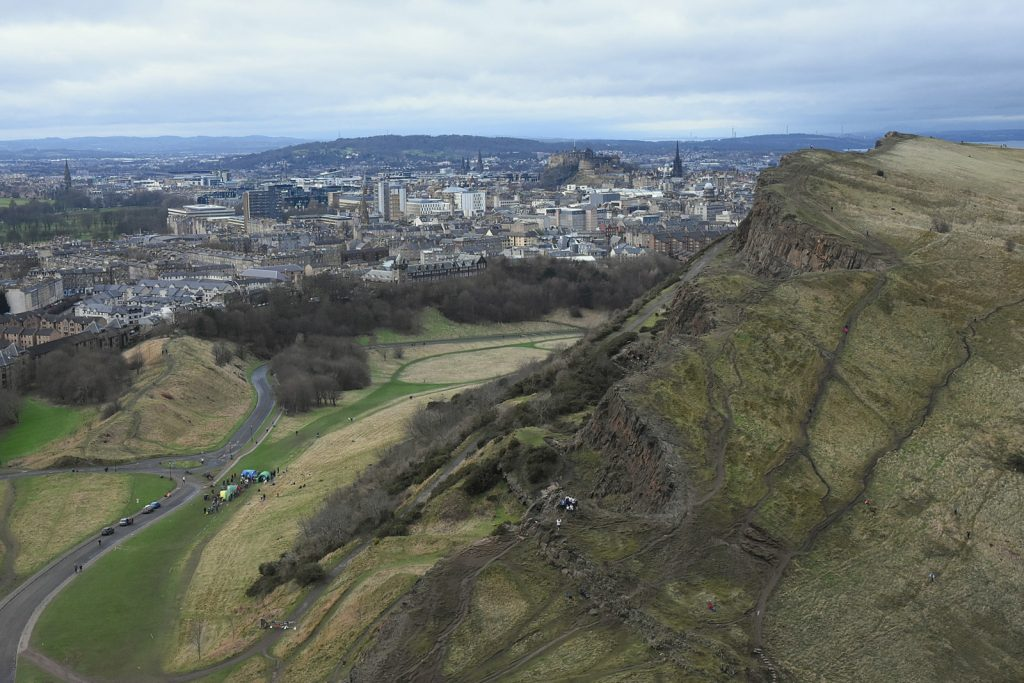 Salisbury Crags Edinburgh orienteering event in great outdoors