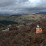 Orienteering flag on Scottish hillside