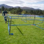 Setting up the event centre for a Scottish Orienteering event in the great outdoors