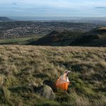 Orienteering flag on a hillside in the great outdoors overlooking Edinburgh