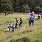 Group of orienteers in the Scottish outdoors enjoying connecting with nature