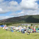 Orienteering event centre tents and banner in the Scottish Highland Deeside 2017