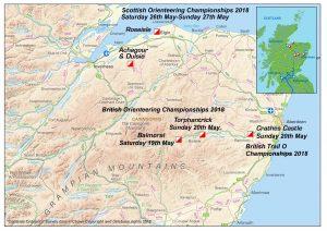 British Orienteering Championships 2018 Location Map